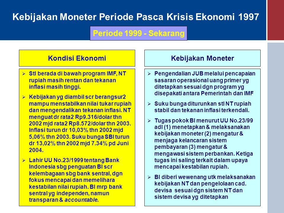 Kebijakan Moneter Periode Pasca Krisis Ekonomi 1997 Kondisi EkonomiKebijakan Moneter  Stl berada di bawah program IMF, NT rupiah masih rentan dan tek