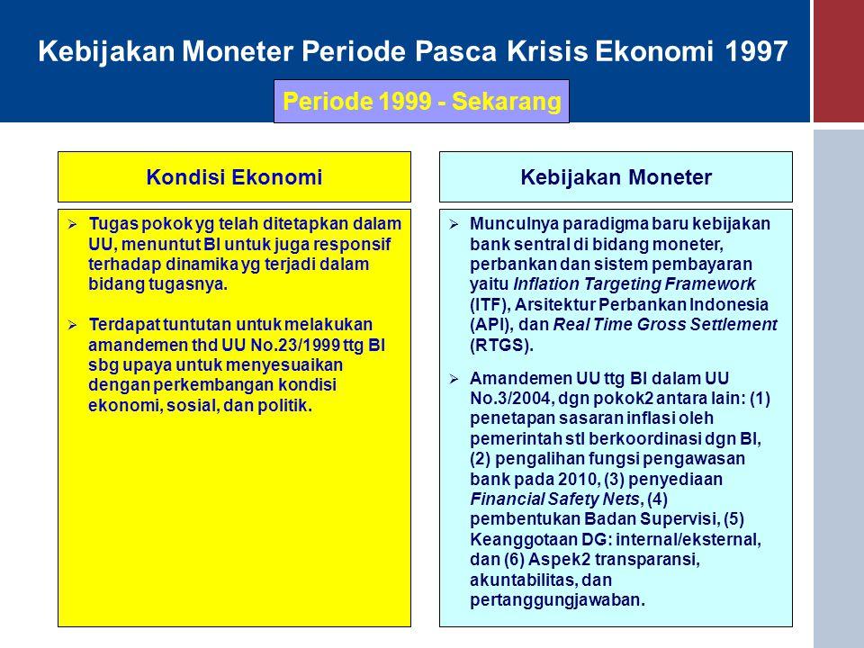 Kebijakan Moneter Periode Pasca Krisis Ekonomi 1997 Kondisi EkonomiKebijakan Moneter  Tugas pokok yg telah ditetapkan dalam UU, menuntut BI untuk jug