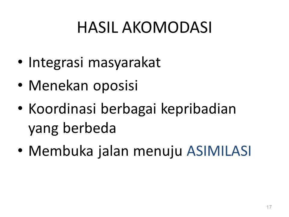 HASIL AKOMODASI Integrasi masyarakat Menekan oposisi Koordinasi berbagai kepribadian yang berbeda Membuka jalan menuju ASIMILASI 17