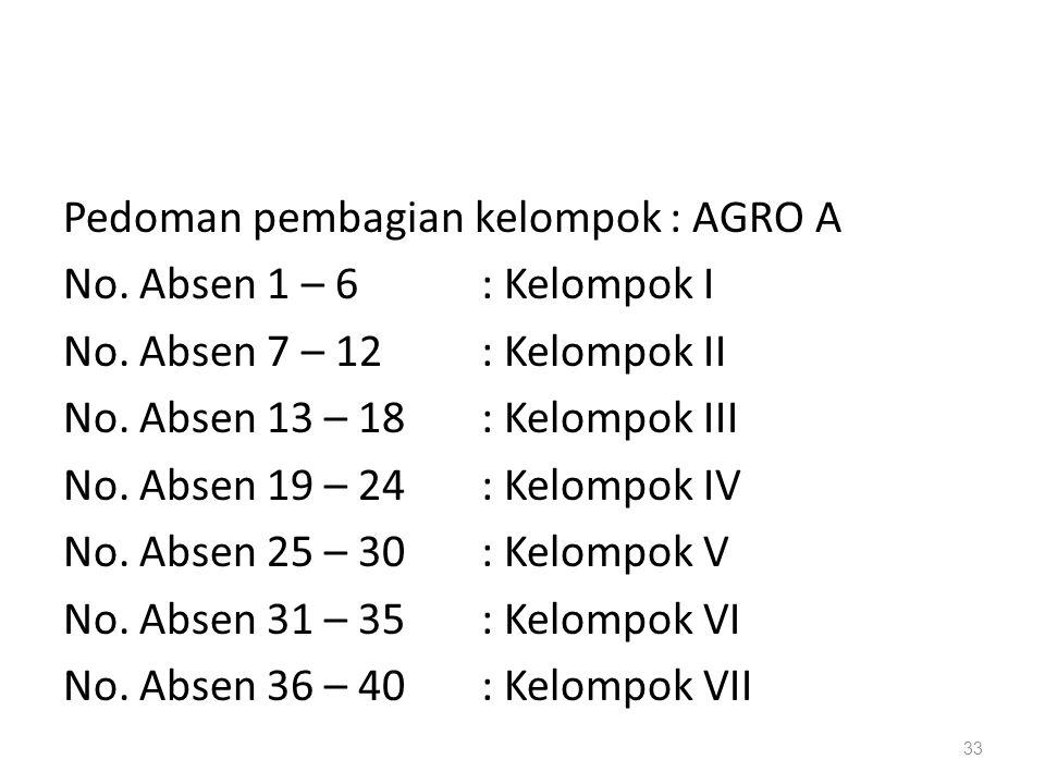 33 Pedoman pembagian kelompok : AGRO A No. Absen 1 – 6: Kelompok I No. Absen 7 – 12: Kelompok II No. Absen 13 – 18: Kelompok III No. Absen 19 – 24: Ke