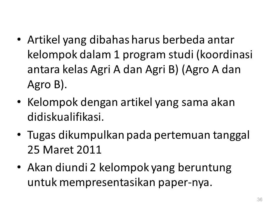 Artikel yang dibahas harus berbeda antar kelompok dalam 1 program studi (koordinasi antara kelas Agri A dan Agri B) (Agro A dan Agro B). Kelompok deng
