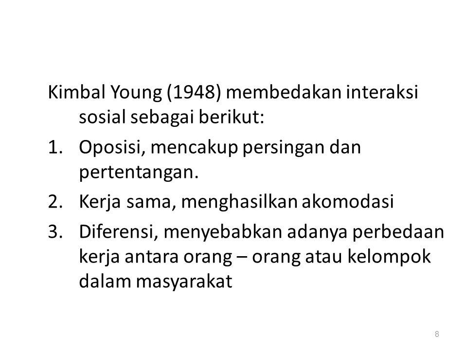 Kimbal Young (1948) membedakan interaksi sosial sebagai berikut: 1.Oposisi, mencakup persingan dan pertentangan. 2.Kerja sama, menghasilkan akomodasi