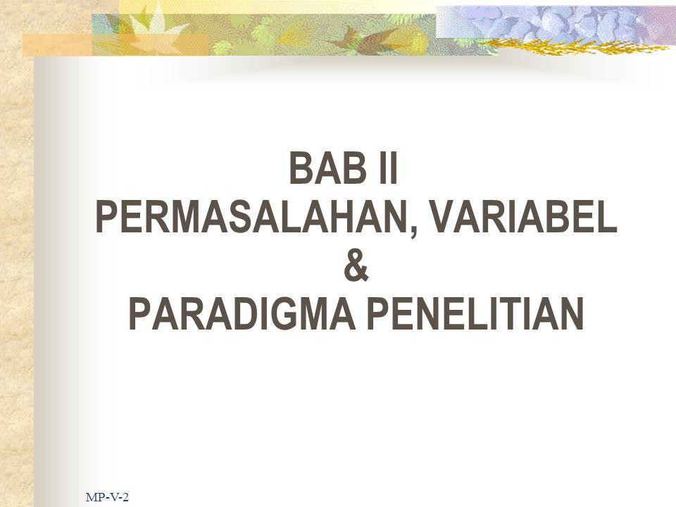 MP-V-2 BAB II PERMASALAHAN, VARIABEL & PARADIGMA PENELITIAN
