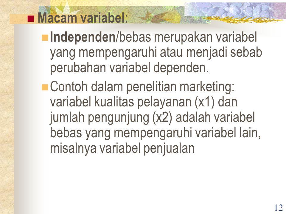 12 Macam variabel : Independen /bebas merupakan variabel yang mempengaruhi atau menjadi sebab perubahan variabel dependen.
