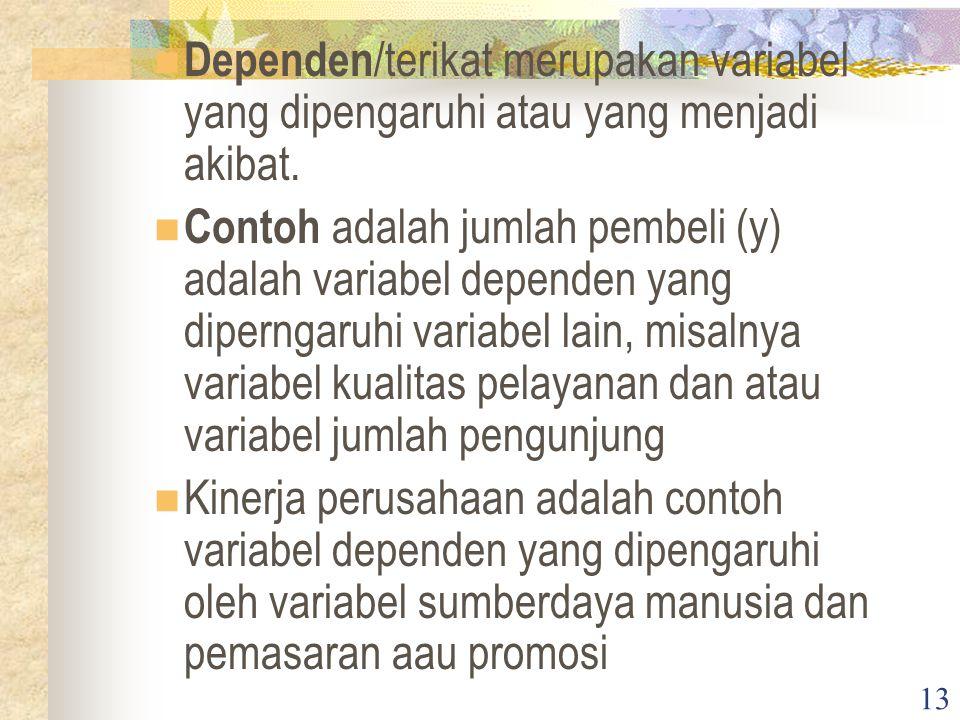 13 Dependen /terikat merupakan variabel yang dipengaruhi atau yang menjadi akibat.