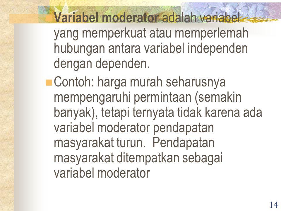 14 Variabel moderator adalah variabel yang memperkuat atau memperlemah hubungan antara variabel independen dengan dependen.