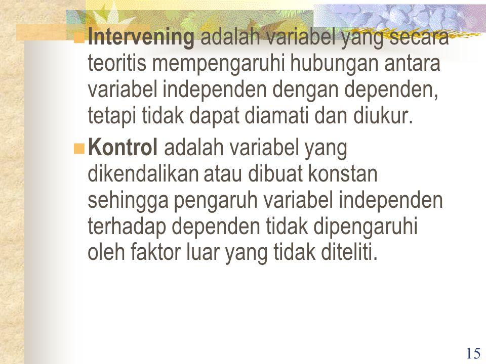 15 Intervening adalah variabel yang secara teoritis mempengaruhi hubungan antara variabel independen dengan dependen, tetapi tidak dapat diamati dan diukur.