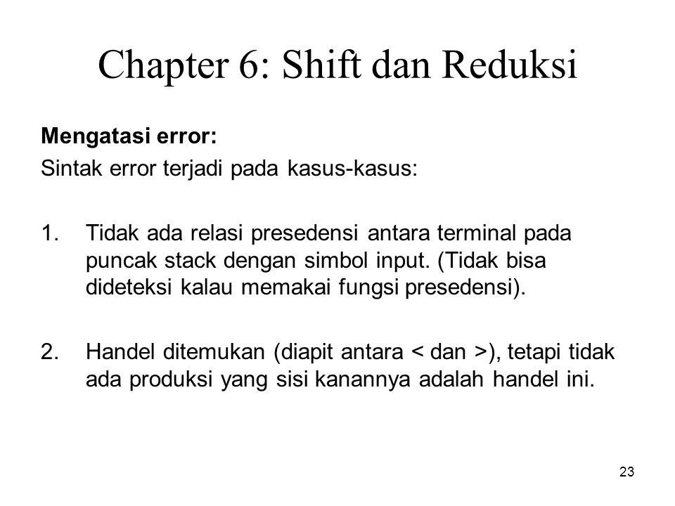 23 Chapter 6: Shift dan Reduksi Mengatasi error: Sintak error terjadi pada kasus-kasus: 1.Tidak ada relasi presedensi antara terminal pada puncak stac