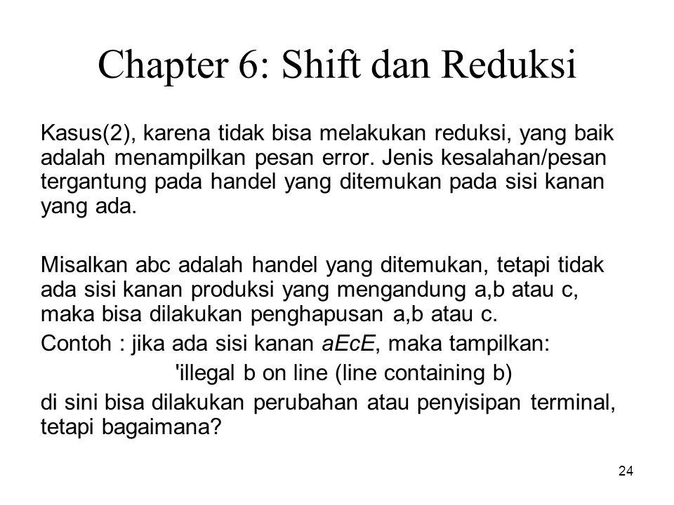 24 Chapter 6: Shift dan Reduksi Kasus(2), karena tidak bisa melakukan reduksi, yang baik adalah menampilkan pesan error. Jenis kesalahan/pesan tergant