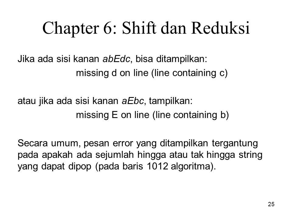 25 Chapter 6: Shift dan Reduksi Jika ada sisi kanan abEdc, bisa ditampilkan: missing d on line (line containing c) atau jika ada sisi kanan aEbc, tamp