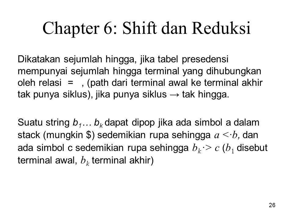 26 Chapter 6: Shift dan Reduksi Dikatakan sejumlah hingga, jika tabel presedensi mempunyai sejumlah hingga terminal yang dihubungkan oleh relasi =, (p