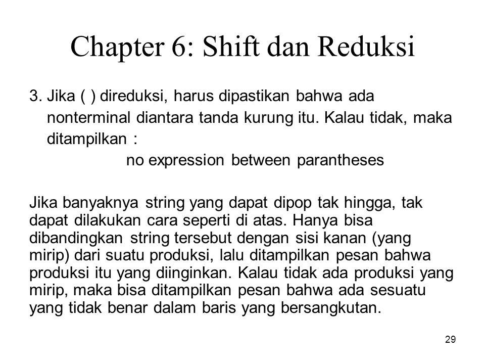 29 Chapter 6: Shift dan Reduksi 3. Jika ( ) direduksi, harus dipastikan bahwa ada nonterminal diantara tanda kurung itu. Kalau tidak, maka ditampilkan
