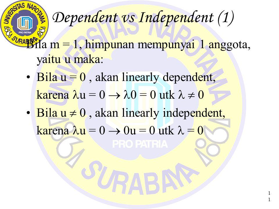 11 Dependent vs Independent (1) Bila m = 1, himpunan mempunyai 1 anggota, yaitu u maka: Bila u = 0, akan linearly dependent, karena u = 0  0 = 0 utk  0 Bila u  0, akan linearly independent, karena u = 0  0u = 0 utk = 0