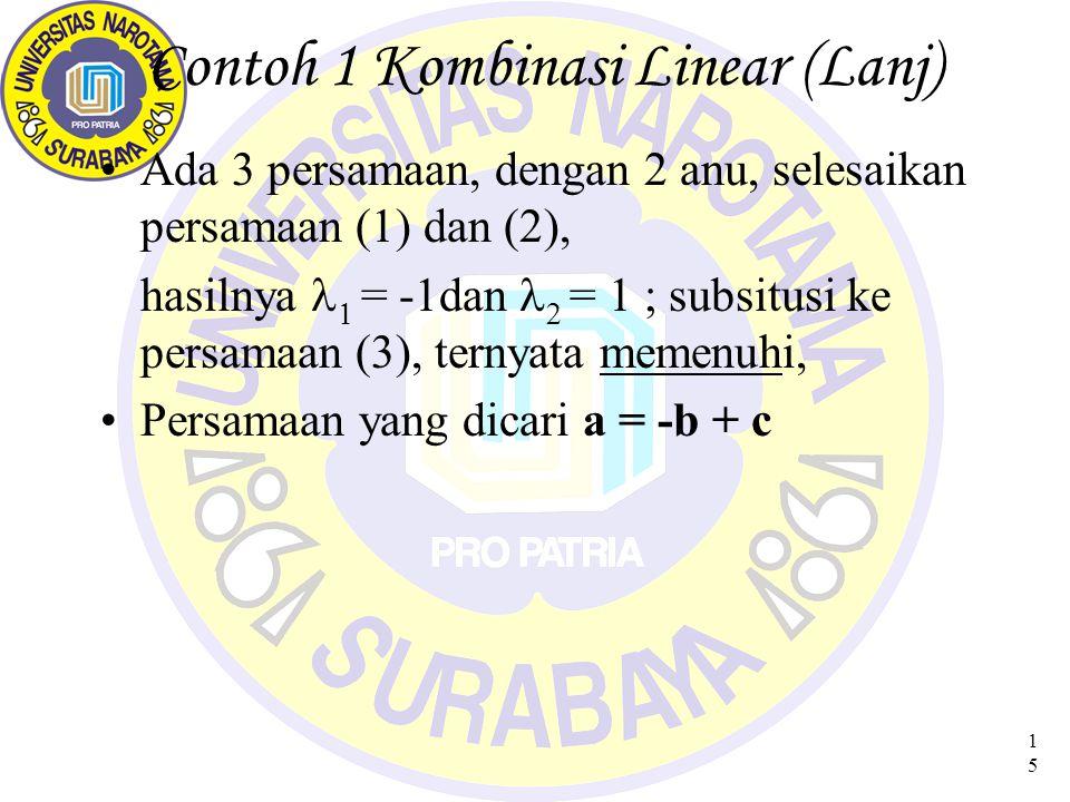 15 Contoh 1 Kombinasi Linear (Lanj) Ada 3 persamaan, dengan 2 anu, selesaikan persamaan (1) dan (2), hasilnya  = -1dan   = 1 ; subsitusi ke persamaan (3), ternyata memenuhi, Persamaan yang dicari a = -b + c