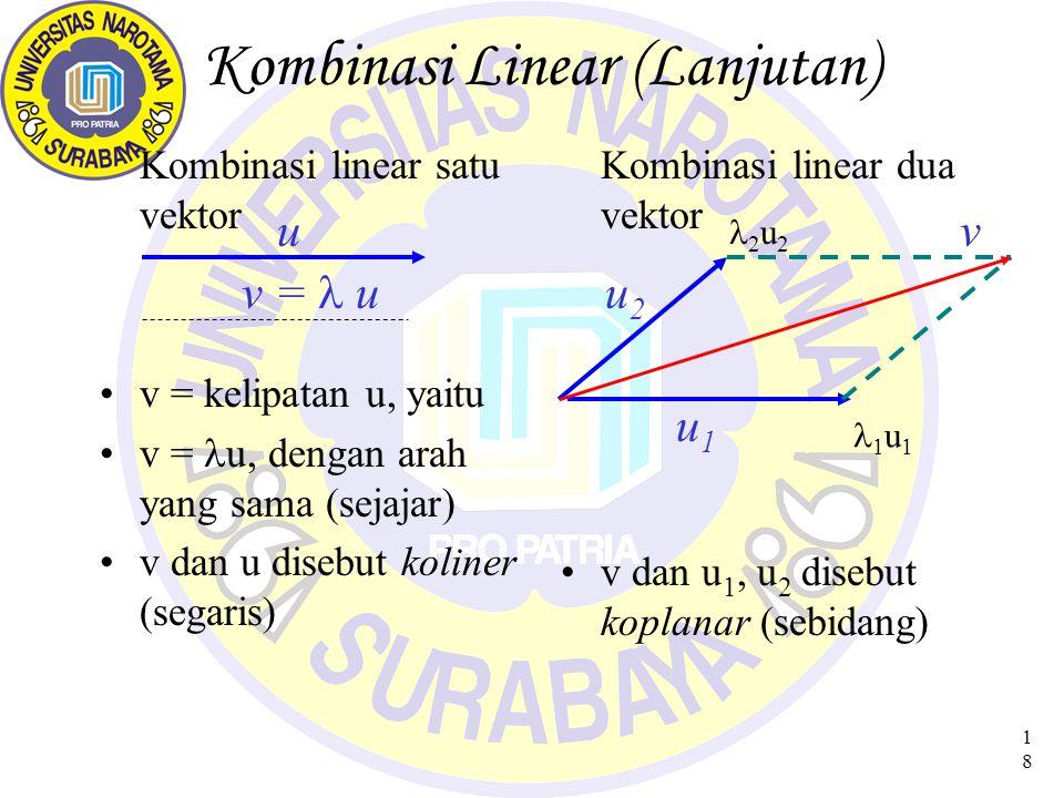 18 Kombinasi Linear (Lanjutan) Kombinasi linear satu vektor v = kelipatan u, yaitu v = u, dengan arah yang sama (sejajar) v dan u disebut koliner (segaris) Kombinasi linear dua vektor v dan u 1, u 2 disebut koplanar (sebidang) uv u1u1 u2u2 1 u 1 2 u 2 v = u