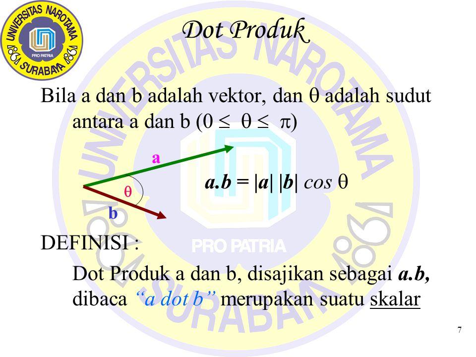 7 Dot Produk Bila a dan b adalah vektor, dan  adalah sudut antara a dan b (0     ) a.b = |a| |b| cos  DEFINISI : Dot Produk a dan b, disajikan sebagai a.b, dibaca a dot b merupakan suatu skalar a b 