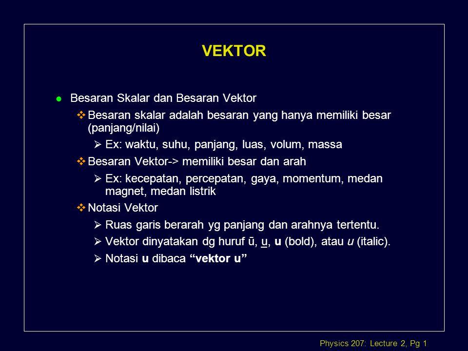 Physics 207: Lecture 2, Pg 2 ab Dua vektor sama, a = b ab Dua Vektor mempunyai besar sama, arah berbeda a b Dua vektor arah sama, besaran beda a b Dua Vektor besar dan arah berbeda