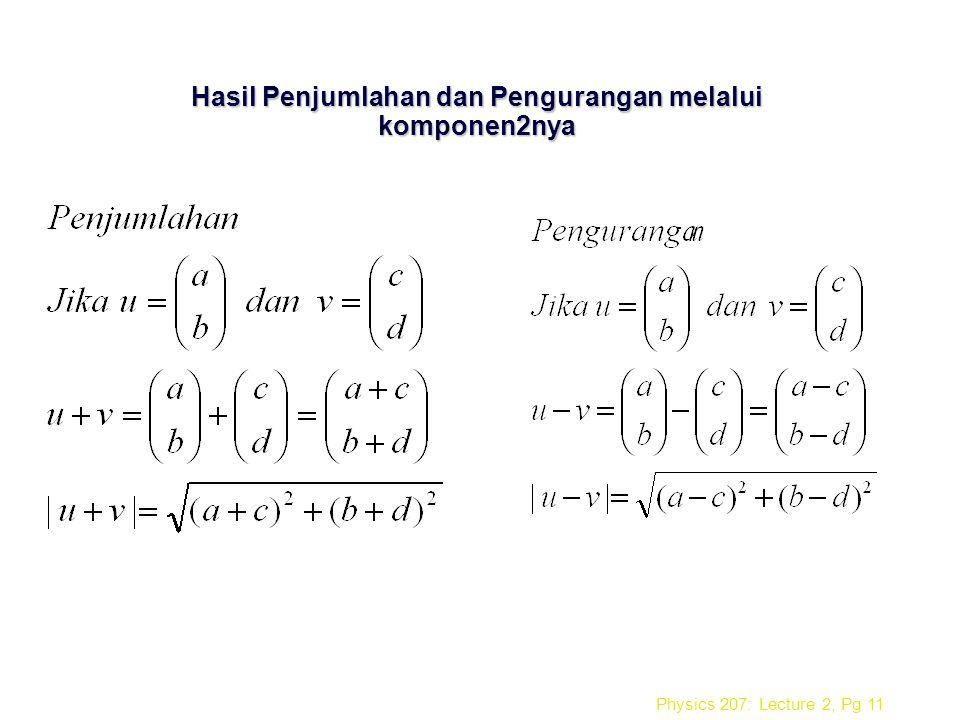 Physics 207: Lecture 2, Pg 11 Hasil Penjumlahan dan Pengurangan melalui komponen2nya