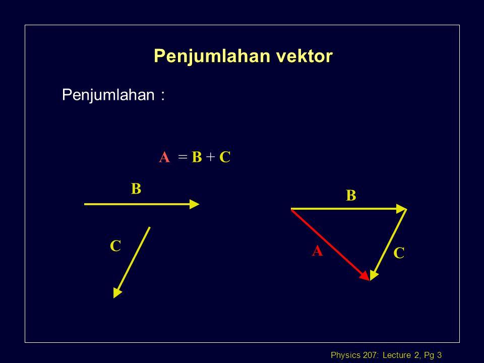 Physics 207: Lecture 2, Pg 14 VECTOR CROSS PRODUCT l Hasil perkalian Dot product adalah skalar.