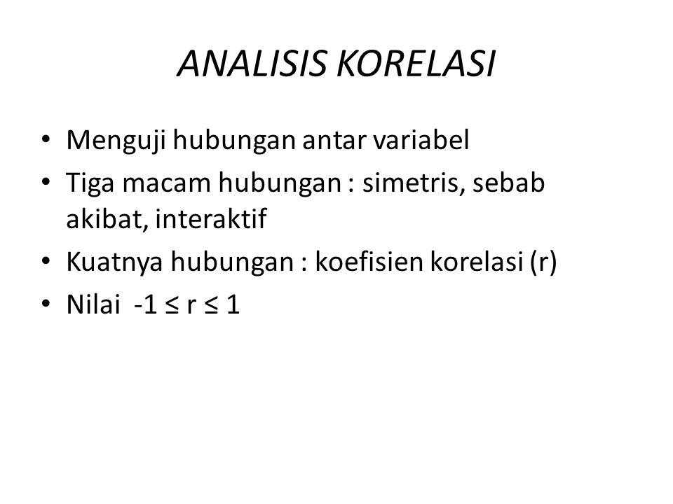 ANALISIS KORELASI Menguji hubungan antar variabel Tiga macam hubungan : simetris, sebab akibat, interaktif Kuatnya hubungan : koefisien korelasi (r) N