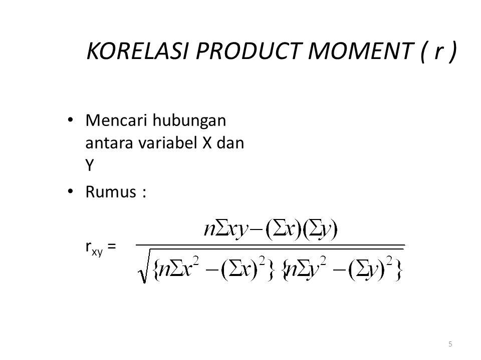 5 KORELASI PRODUCT MOMENT ( r ) Mencari hubungan antara variabel X dan Y Rumus : r xy =
