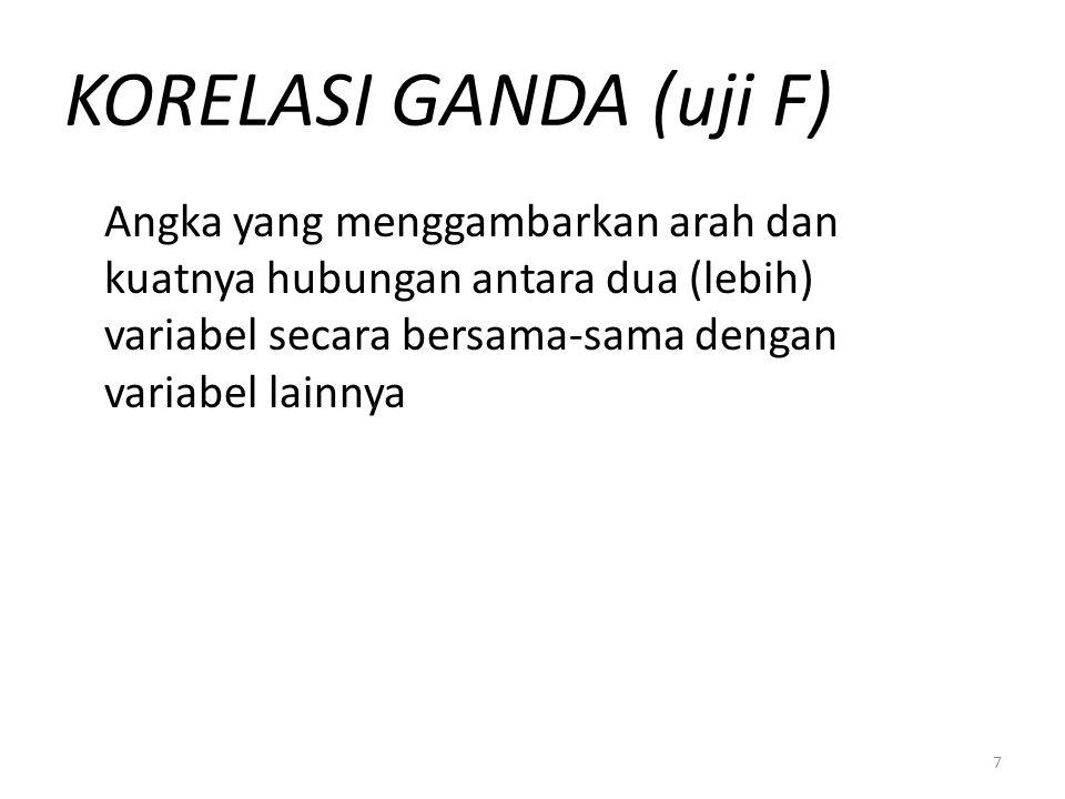 7 KORELASI GANDA (uji F) Angka yang menggambarkan arah dan kuatnya hubungan antara dua (lebih) variabel secara bersama-sama dengan variabel lainnya