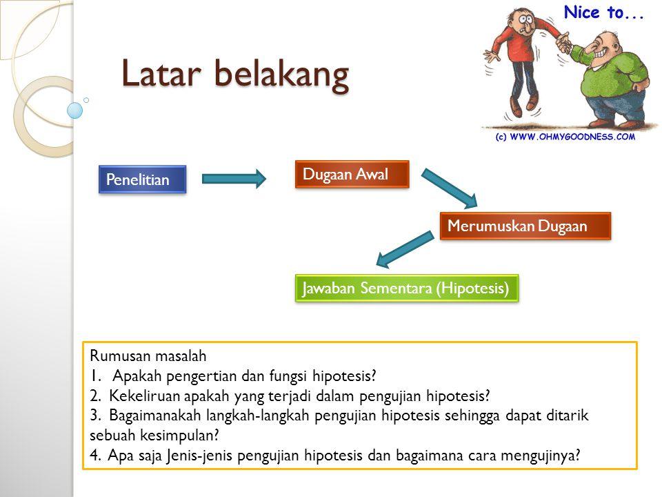 Latar belakang Penelitian Dugaan Awal Rumusan masalah 1. Apakah pengertian dan fungsi hipotesis? 2. Kekeliruan apakah yang terjadi dalam pengujian hip