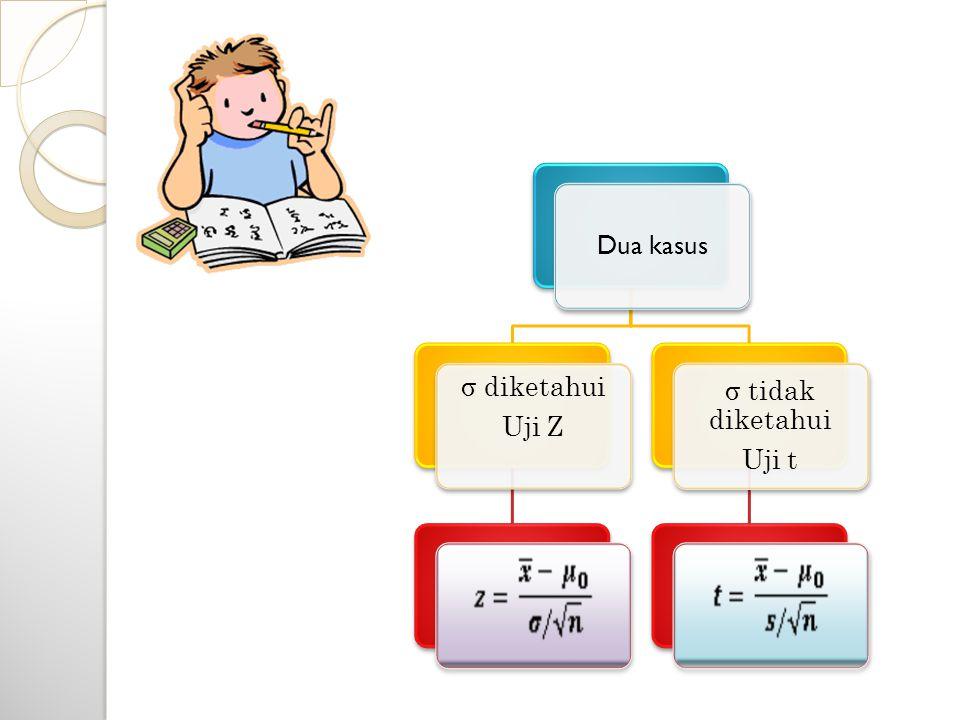 Uji dua pihak Menguji Hipotesis proporsi  Uji satu pihak Keterangan :  = proporsi suatu kejadian  0 = nilai proporsi yang sudah diketahui x/n = proporsi sampel n = banyak sampel