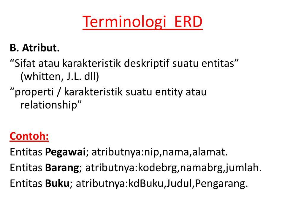 Terminologi ERD B.Atribut. Sifat atau karakteristik deskriptif suatu entitas (whitten, J.L.