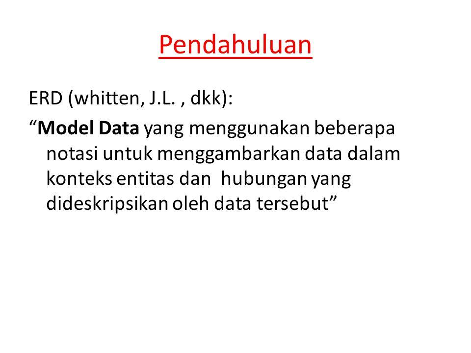 Pendahuluan ERD (whitten, J.L., dkk): Model Data yang menggunakan beberapa notasi untuk menggambarkan data dalam konteks entitas dan hubungan yang dideskripsikan oleh data tersebut