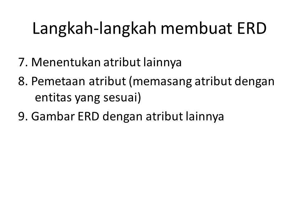 Langkah-langkah membuat ERD 7.Menentukan atribut lainnya 8.