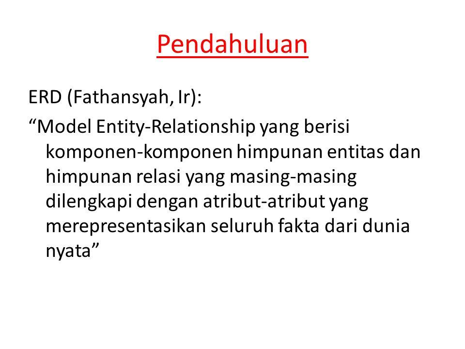 Pendahuluan ERD (Fathansyah, Ir): Model Entity-Relationship yang berisi komponen-komponen himpunan entitas dan himpunan relasi yang masing-masing dilengkapi dengan atribut-atribut yang merepresentasikan seluruh fakta dari dunia nyata