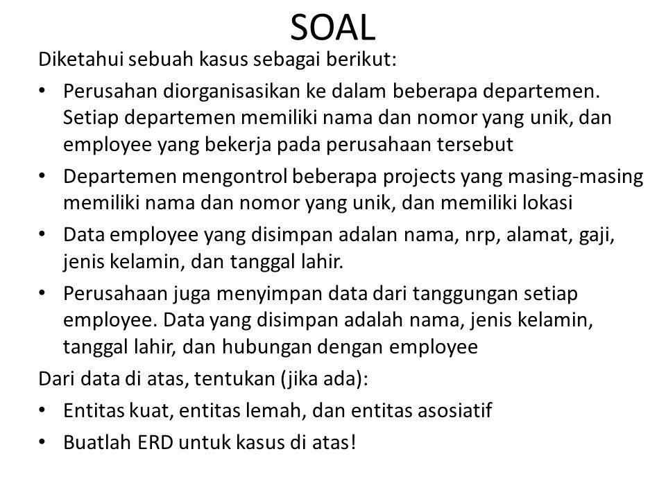 Diketahui sebuah kasus sebagai berikut: Perusahan diorganisasikan ke dalam beberapa departemen.