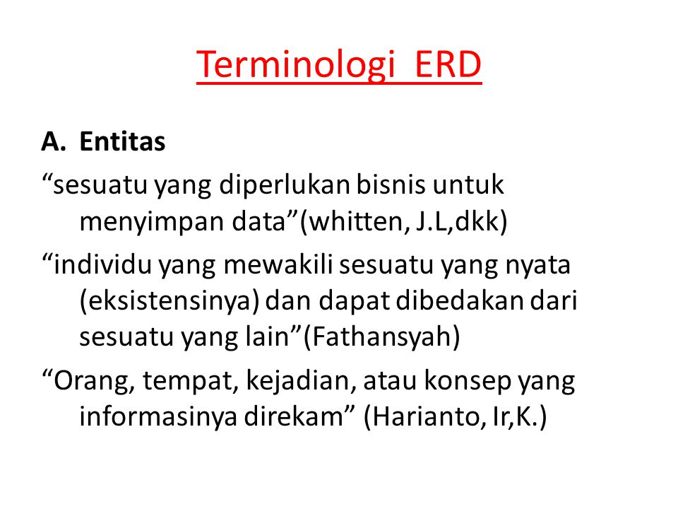 Terminologi ERD ENTITAS apa saja…??.