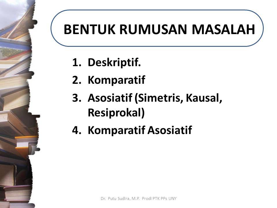 BENTUK RUMUSAN MASALAH 1.Deskriptif. 2.Komparatif 3.Asosiatif (Simetris, Kausal, Resiprokal) 4.Komparatif Asosiatif Dr. Putu Sudira, M.P. Prodi PTK PP