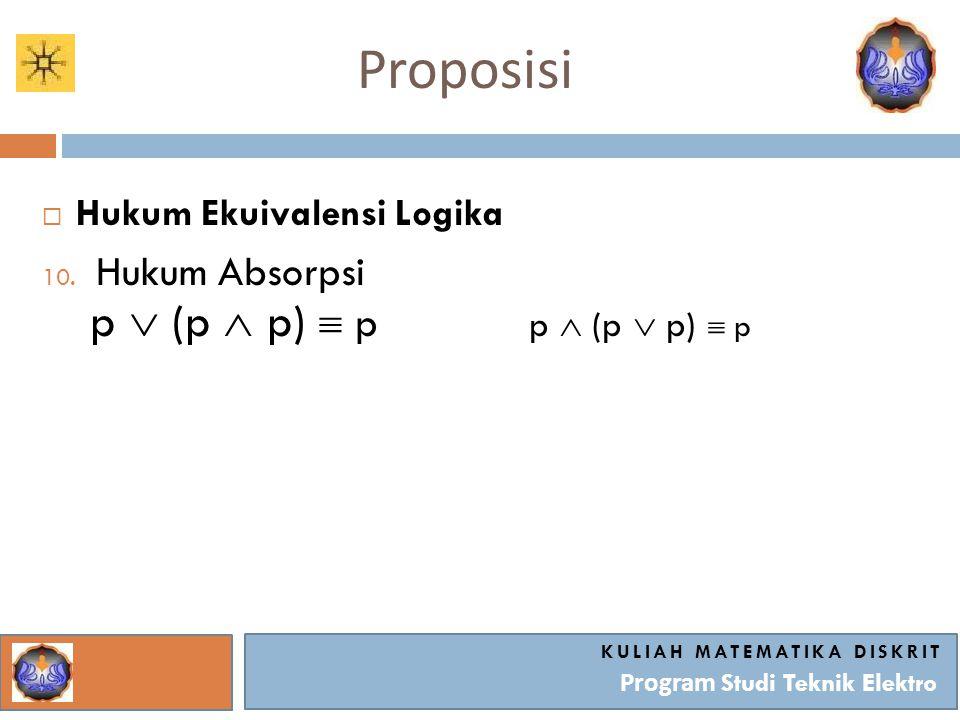 Proposisi KULIAH MATEMATIKA DISKRIT Program Studi Teknik Elektro  Hukum Ekuivalensi Logika 10. Hukum Absorpsi p  (p  p)  p p  (p  p)  p