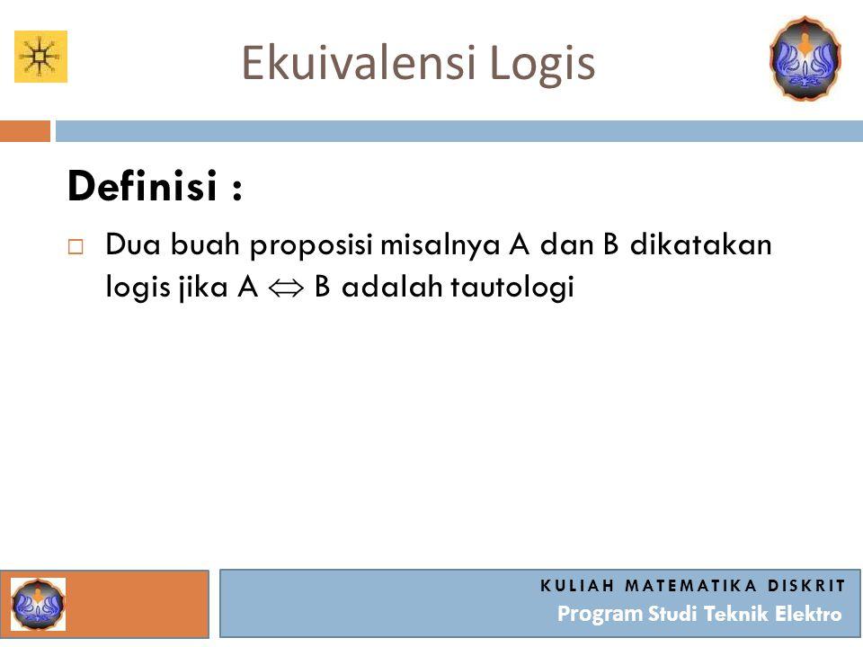 Ekuivalensi Logis KULIAH MATEMATIKA DISKRIT Program Studi Teknik Elektro Definisi :  Dua buah proposisi misalnya A dan B dikatakan logis jika A  B a