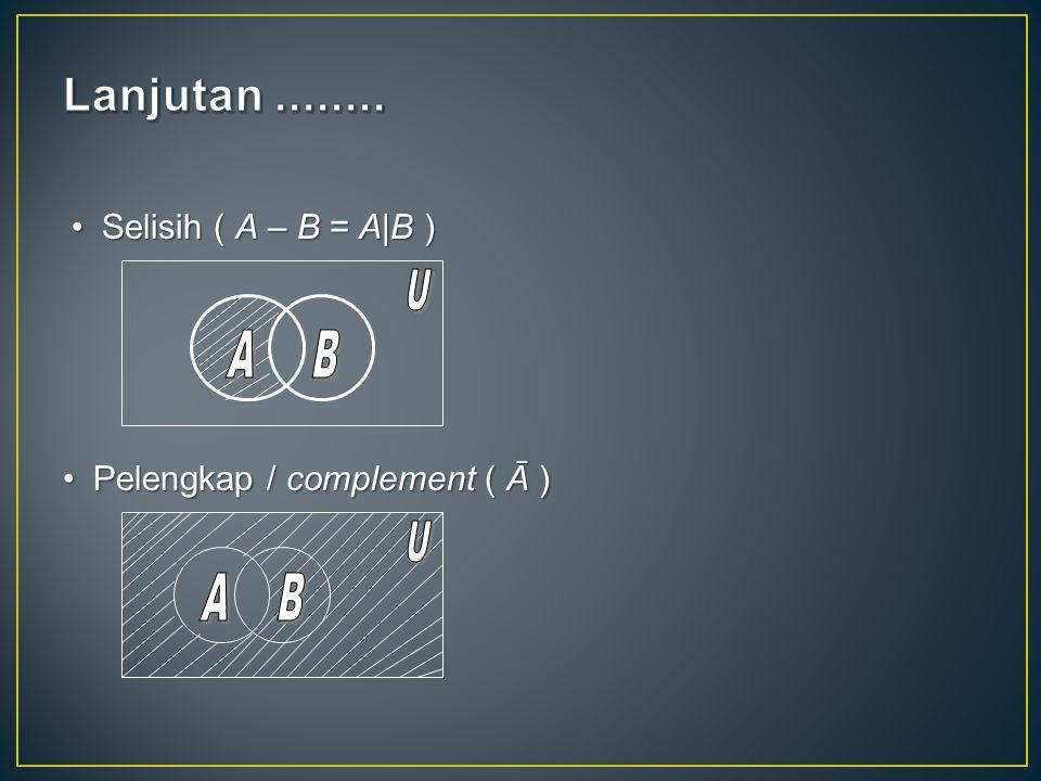 Selisih ( A – B = A|B )Selisih ( A – B = A|B ) Pelengkap / complement ( Ā )Pelengkap / complement ( Ā )