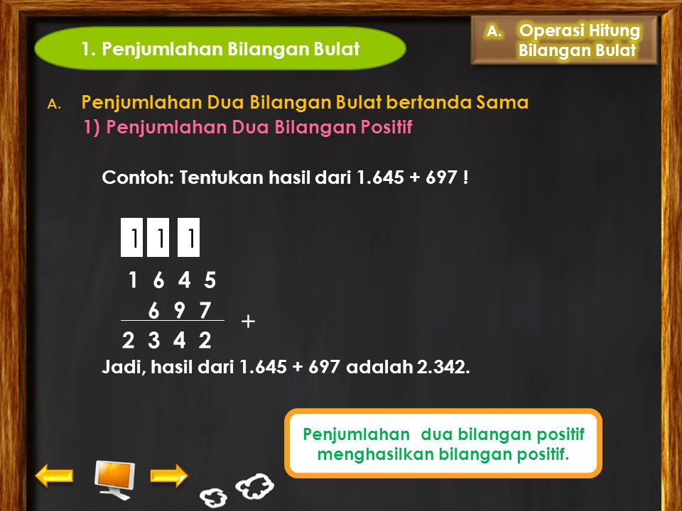 Bilangan bulat terdiri atas bilangan bulat positif, nol, dan bilangan bulat negatif. Letaknya ditunjukkan oleh garis bilangan berikut. -4 -3 -2 0 1 2