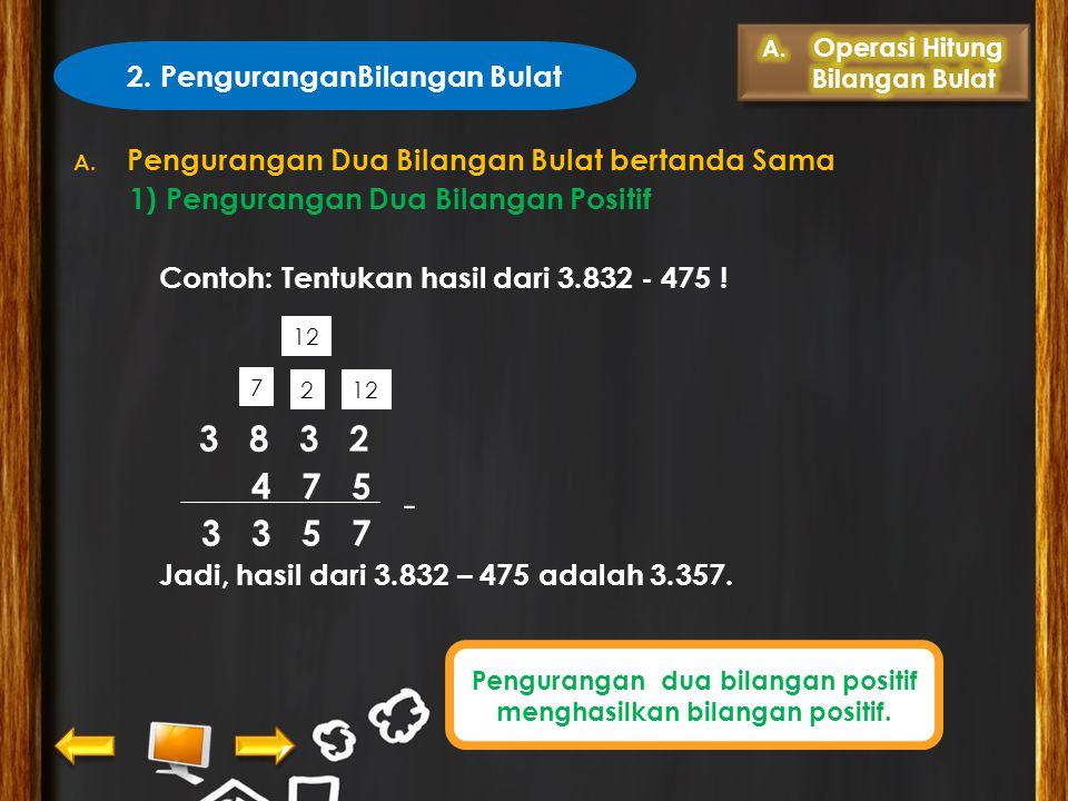  Contoh 2: Tentukan hasil dari -246 + (17) Pembahasan: Langkah 1 : Bandingkan kedua bilangan tanpa tanda negatif. Langkah 2 : Kurangi bilangan terbes