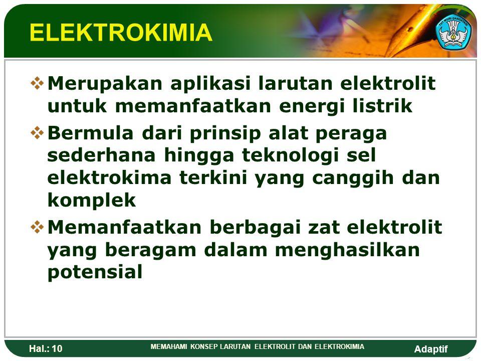 Adaptif Hal.: 9 MEMAHAMI KONSEP LARUTAN ELEKTROLIT DAN ELEKTROKIMIA NON ELEKTROLIT  Tidak dapat menghantarkan arus listrik karena daya hantarnya sang