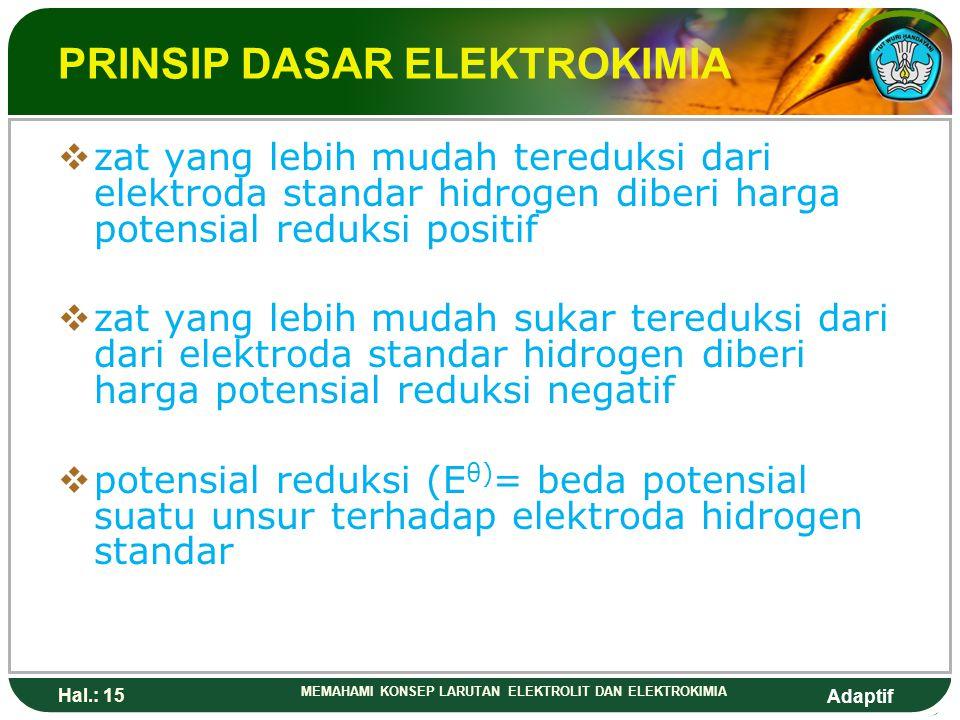 Adaptif Hal.: 14 MEMAHAMI KONSEP LARUTAN ELEKTROLIT DAN ELEKTROKIMIA PRINSIP DASAR ELEKTROKIMIA  Penentuan potensial beberapa elektroda dengan elektr