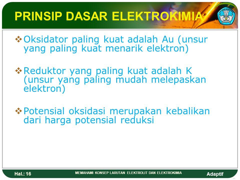 Adaptif Hal.: 15 MEMAHAMI KONSEP LARUTAN ELEKTROLIT DAN ELEKTROKIMIA PRINSIP DASAR ELEKTROKIMIA  zat yang lebih mudah tereduksi dari elektroda standa