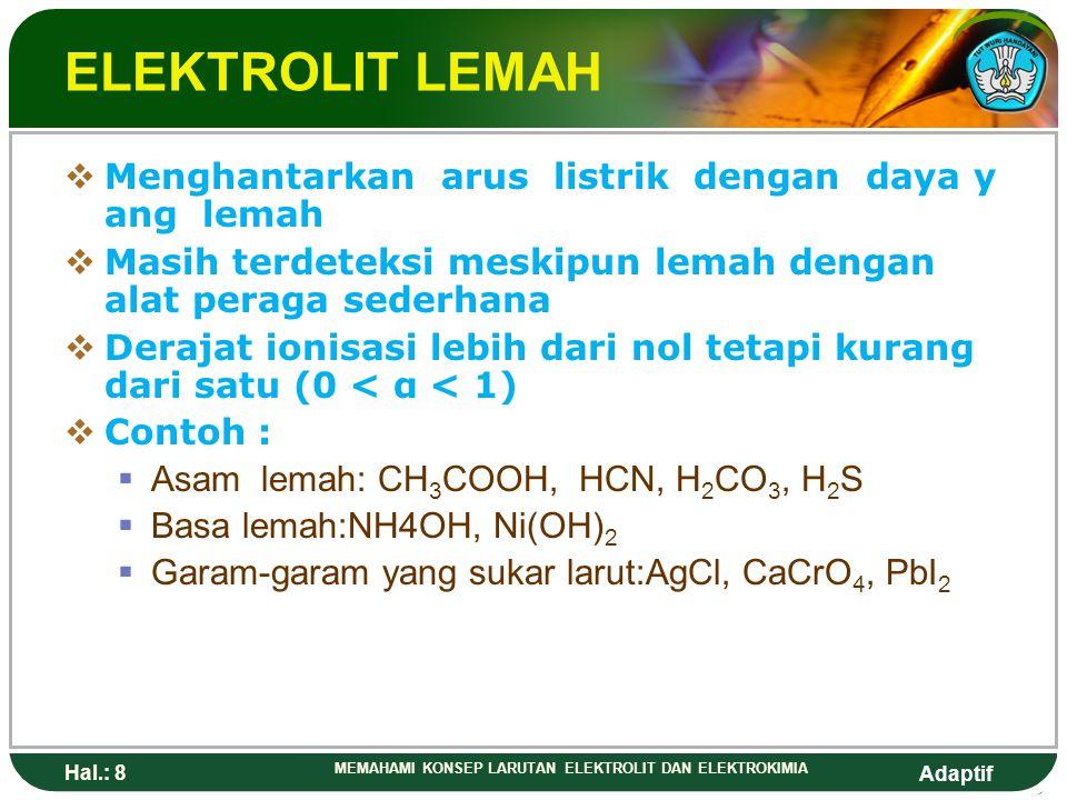 Adaptif Hal.: 7 MEMAHAMI KONSEP LARUTAN ELEKTROLIT DAN ELEKTROKIMIA ELEKTROLIT KUAT  Mempunyai daya hantar arus listrik cukup kuat untuk terlihat ala