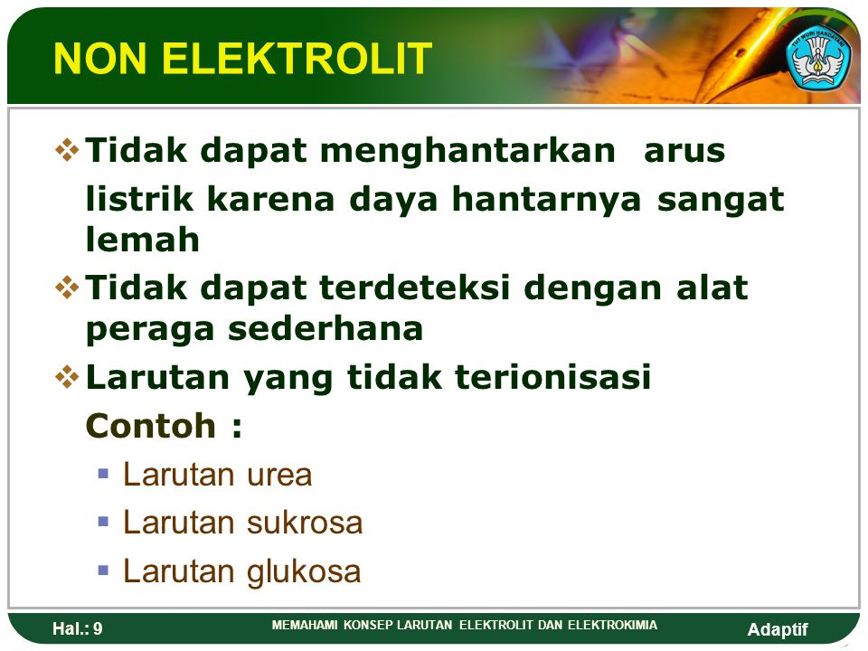 Adaptif Hal.: 8 MEMAHAMI KONSEP LARUTAN ELEKTROLIT DAN ELEKTROKIMIA ELEKTROLIT LEMAH  Menghantarkan arus listrik dengan daya y ang lemah  Masih terd