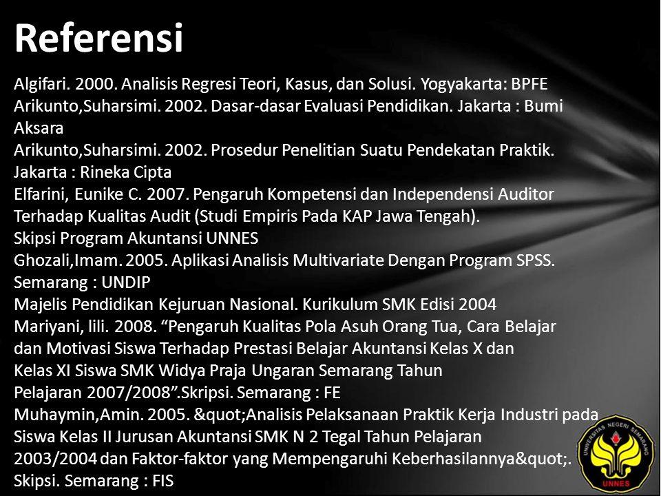 Referensi Algifari. 2000. Analisis Regresi Teori, Kasus, dan Solusi. Yogyakarta: BPFE Arikunto,Suharsimi. 2002. Dasar-dasar Evaluasi Pendidikan. Jakar