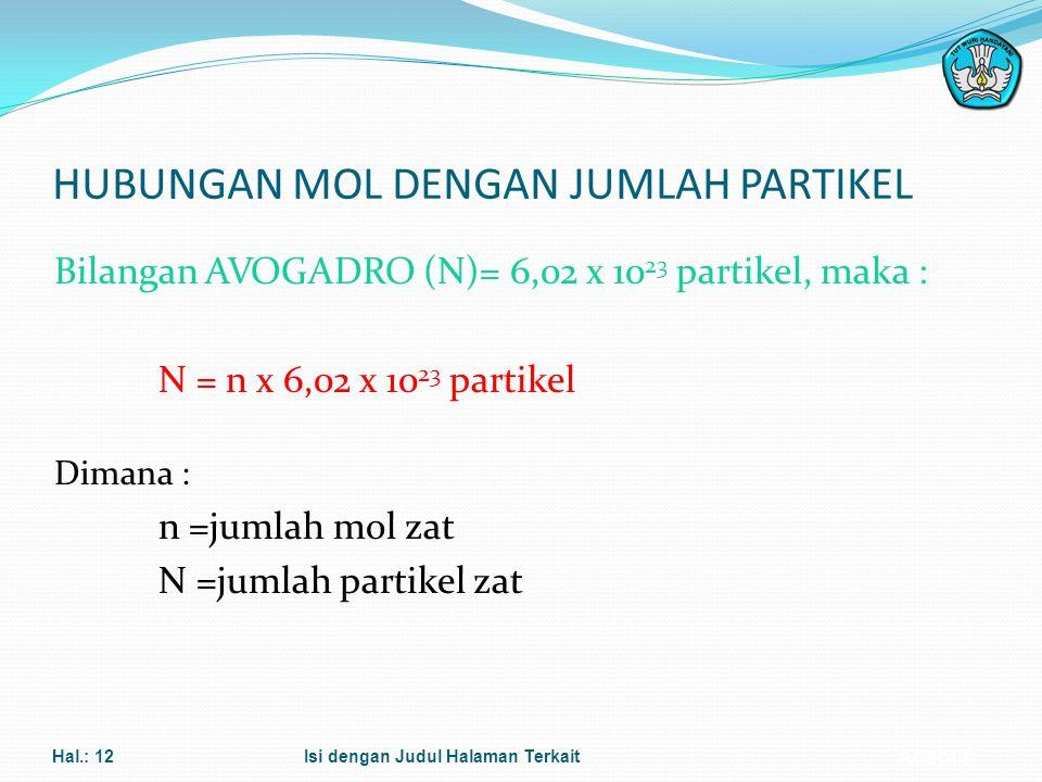 Adaptif KONSEP MOL Jumlah mol suatu zat dapat ditentukan dengan rumus : n = m A (untuk atom) Ar n = m M (untuk molekul/senyawa) M Dimana : n = jumlah