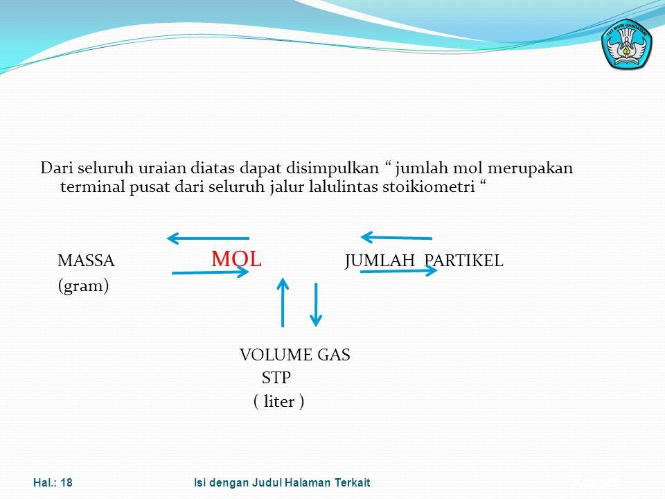 Adaptif MOLARITAS Rumus : M = n V Dimana : M = molaritas larutan (mol/L atau M) n = jumlah mol zat terlarut (mol) V = volume larutan (liter) Hal.: 17I