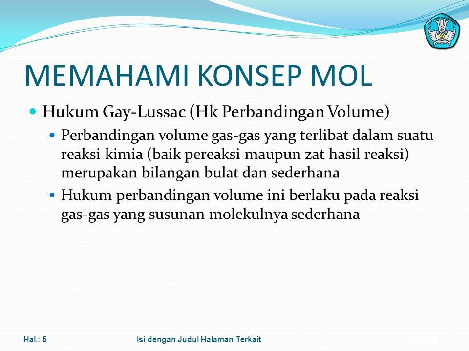 Adaptif 6. Siswa dapat dapat memberikan contoh penerapan hukum perbandingan volume untuk reaksi dalam bentuk gas 7. Siswa dapat menjelaskan hubungan a
