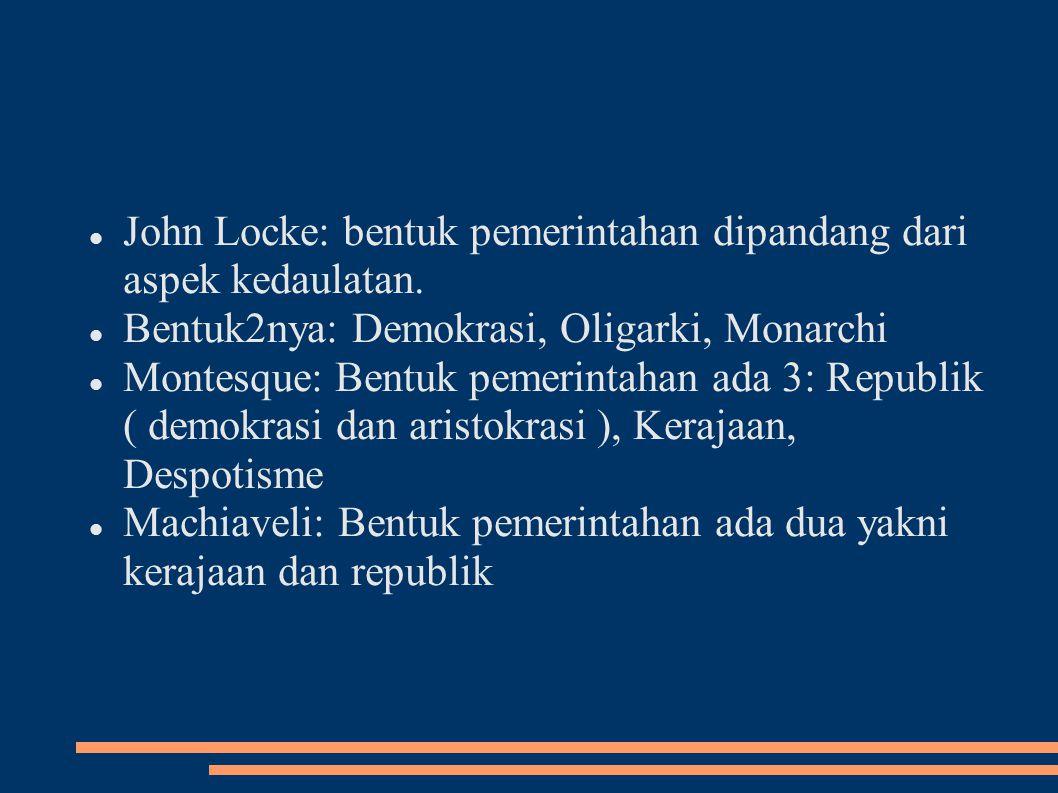 John Locke: bentuk pemerintahan dipandang dari aspek kedaulatan.